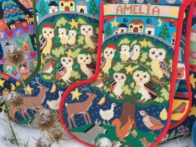 Woodland Owls Christmas stocking
