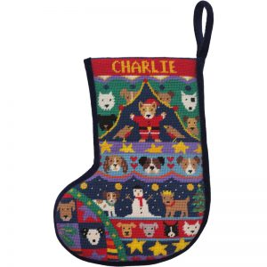 Puppies Christmas Stocking Velvet